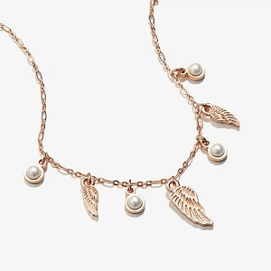Angel Wing and Pearl Delicate Adjustable Necklace Shiny Rose Gold