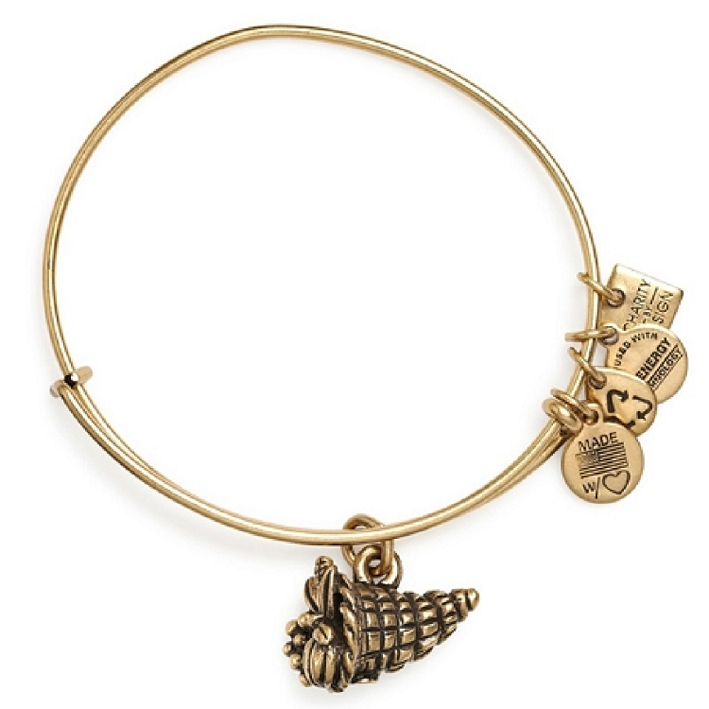GOLD//SILVER Alex and Ani Horn Charm Expandable Wire Bracelet