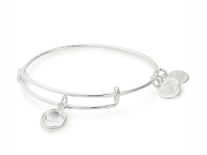 April Crystal Birth Month Charm Bangle With Swarovski Crystal Silver