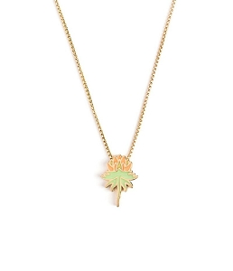 Orange Uriel Flower Glow in the Dark Adjustable Necklace Gold