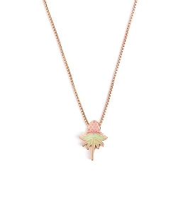 Pink Uriel Flower Glow in the Dark Adjustable Necklace Rose Gold