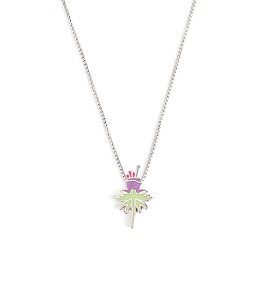 Purple Uriel Flower Glow in the Dark Adjustable Necklace Silver