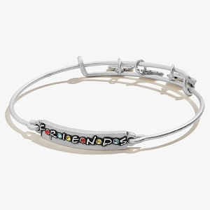 Friends Logo Bar Expandable Wire Bangle Silver