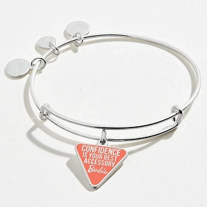Barbie Confidence is Your Best Accessory Charm Bangle Shiny Silver