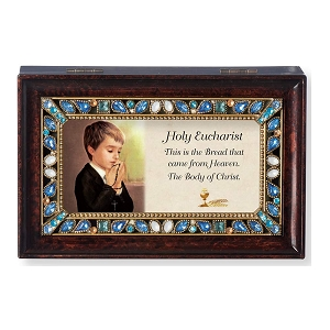 Holy Eucharist Burled Wood Finish with Pearl Jeweled Insert Music Box Plays Amazing Grace