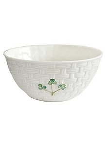 Belleek China Shamrock Basketweave Bowl 6