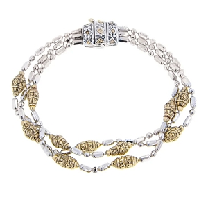 Two Tone Triple Strand Beaded Collection Bracelet B2796-A000