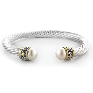 Large Pearl Wire Cuff Bracelet B2867-AB00