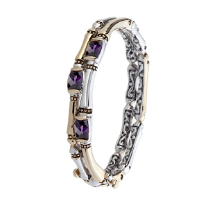 Canias Cor Collection Bracelet Two Row Hinged Bangle Amethyst B5036-A30L