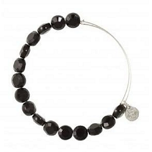 Luxe Bead Bangle Single Jet Shiny Silver