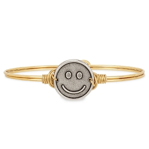 Be Happy Bangle Bracelet Brass 7.5