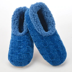 Solid Chenille Slippers Blue Medium 7 - 8