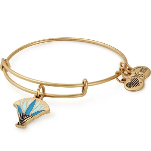 Blue Lotus Charm Bangle Gold