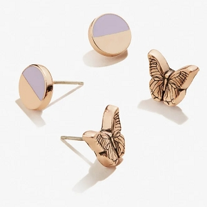 Butterfly Color Infusion Earrings Set of 2 Rose Gold