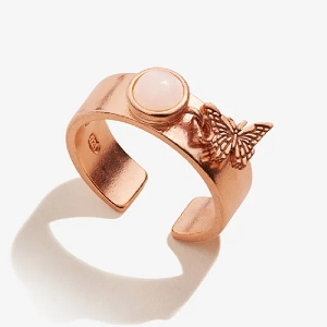 Butterfly Charm Ring 14kt Rose Gold Plated Sterling Silver