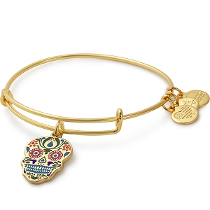 Calavera Color Infusion Charm Bangle Shiny Gold