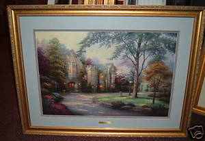 Thomas Kinkade Beyond Summer Gate 18 x 27 s/n Framed