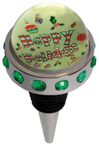 Happy Holidays Wine Bottle Stopper BSTP-5512B