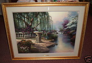 Thomas Kinkade Hour Of Prayer 25 1/2 x 34 s/n Framed