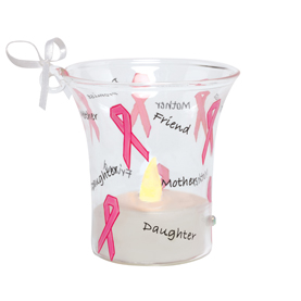 Pink Ribbon Mini Candle Ornament ORN7-5545P