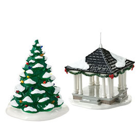 Snow Village Town Square Tree and Gazebo 4016901