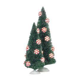 Peppermint Lit Sisal Trees Set of 2 4025370