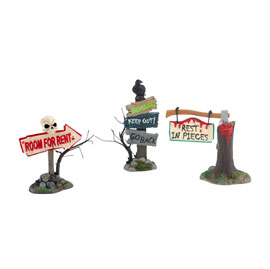 Haunted Village Accessoried Signs Set of 3 4025400