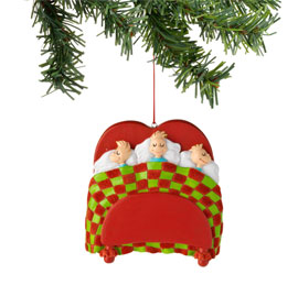 Department 56 Grinch Three Kids in Bed Ornament