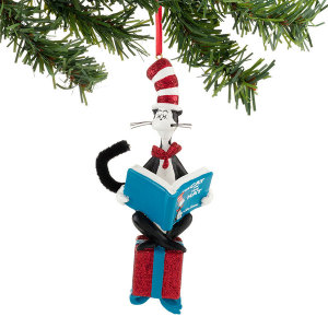 Department 56 Dr. Seuss Cat Reading On Present Ornament 4032317