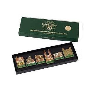 20th Anniversary Dickens Village Series Pins Set 58586