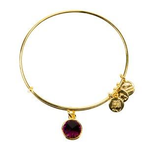 Crystal Birthstone Bangle February Amethyst Yellow Gold
