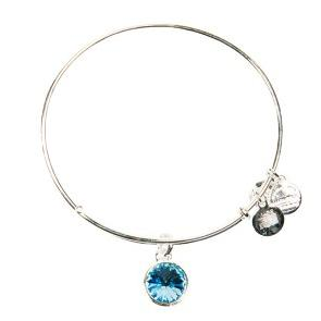 March Aquamarine Birth Month Charm Bangle With Swarovski Crystal Shiny Silver
