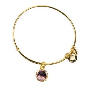 Crystal Birthstone Bangle June Light Amethyst Yellow Gold