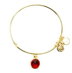 Crystal Birthstone Bangle July Ruby Yellow Gold