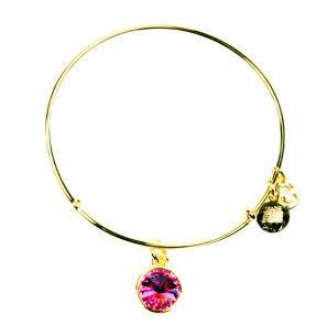Crystal Birthstone Bangle October Rose Yellow Gold