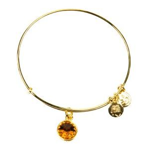 Crystal Birthstone Bangle November Topaz Yellow Gold