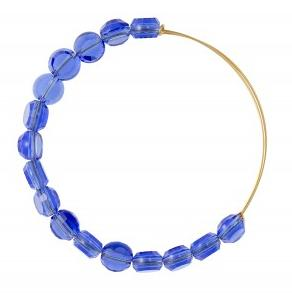 Luxe Bead Bangle Single Sapphire Yellow Gold