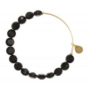 Luxe Bead Bangle Single Jet Yellow Gold