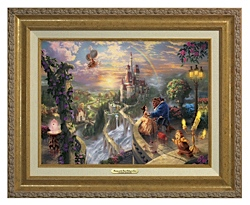 Thomas Kinkade Beauty The Beast 12 x 16 Canvas Antique Gold Classic