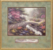 Thomas Kinkade Bridge of Faith Inspirtional Print 22 x 21