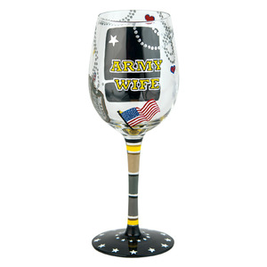 Army Wife Wine Glass GLS11-5524L