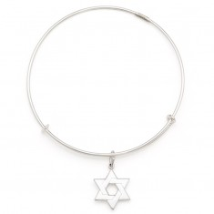 Star of David  Charm Bangle Large Argentium Silver