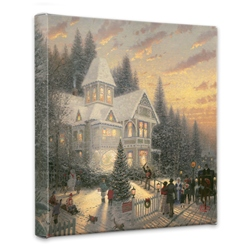 Thomas Kinkade Victorian Christmas 14 x 14 Wrapped Canvas