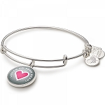 Listen To Your Heart Charm Bangle Shiny Silver