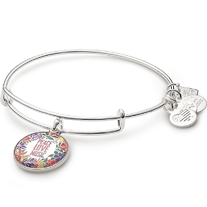 Peace Love Music Charm Bangle Shiny Silver