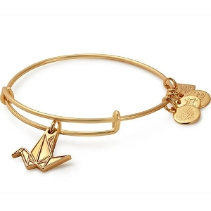 Paper Crane Charm Bangle Shiny Gold