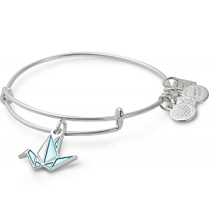Paper Crane Charm Bangle Shiny Silver