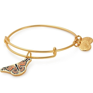 Monarch Butterfly Charm Bangle Shiny Gold