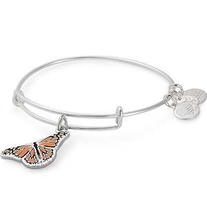 Monarch Butterfly Charm Bangle Shiny Silver