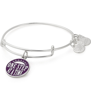 One Step at a Time Charm Bangle Shiny Silver